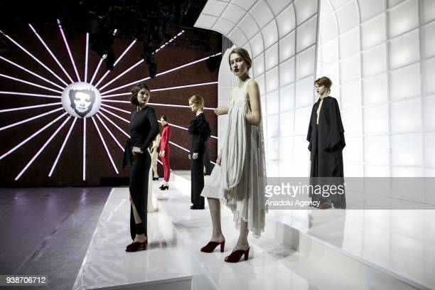 Models present a collection by Ece Kavran to advertise her new brand 'URUN' within Mercedes Benz Fashion Week 2018 in Istanbul Turkey on March 27...