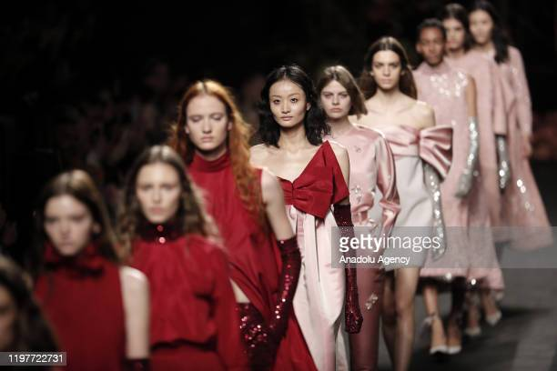 Models present a creation from The 2nd Skin Co.'s Autumn - Winter 2020 / 2021 collection during the Mercedes Benz Fashion Week in Madrid on January...