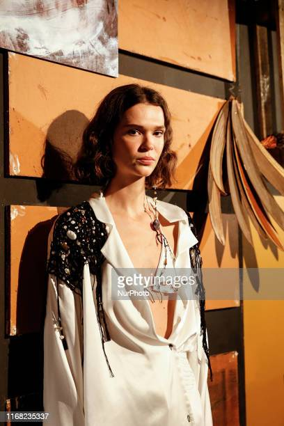Models present a new Luna Del Pinal Spring/Summer 2020 collection during London Fashion Weak in the British Fashion Council show space in London on...