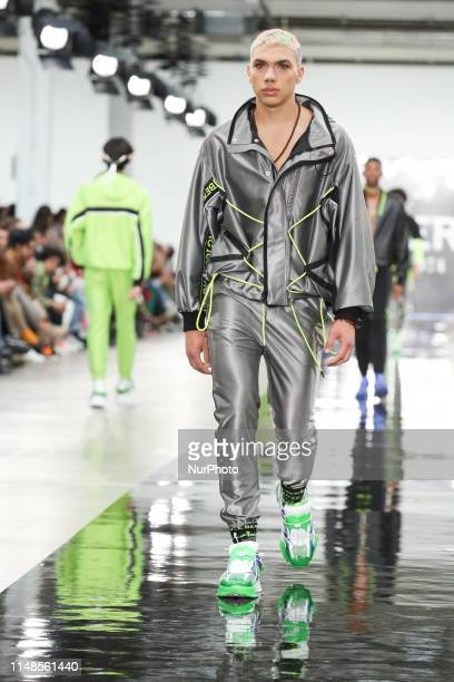 Models present a new Spring/Summer 2020 ICEBERG collection during London Fashion Weak Mens in the old Trumans Brewery show space in London on the...