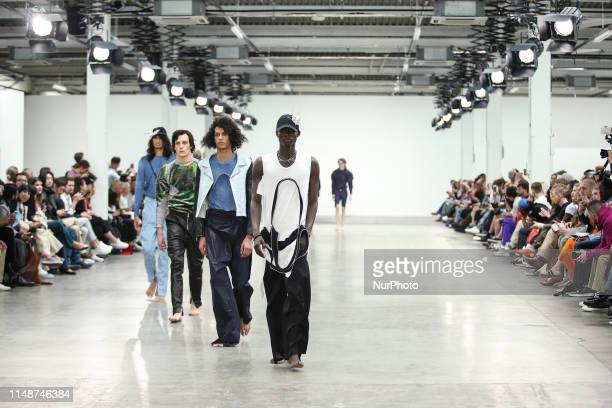 Models present a new Spring/Summer 2020 Per Götesson collection during London Fashion Weak Mens in the old Trumans Brewery show space in London on...