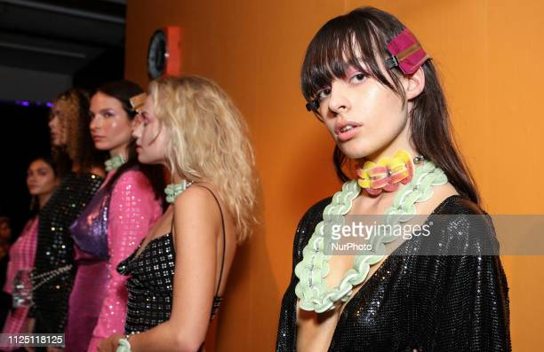 Models present a Poster Girl collection during London Fashion Week February 2019 at the BFC Show Space on February 15 2019 in London England