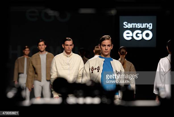 Models present Autumn/Winter 20142015 collection creations by Howl on the last day of Madrid Fashion Week in Madrid on February 18 2014 AFP PHOTO /...