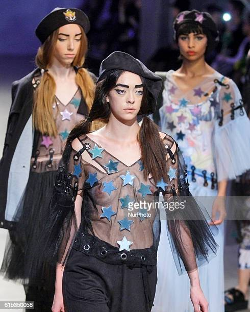 Models present creation by Ukrainian designer Sofia Rousinovichduring ''Ukrainian Fashion Week''at Mystetskyi Arsenal in Kiev Ukraine17 October2016...
