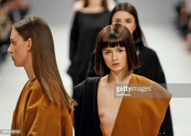 Models present creations by Alexander and Sergey CHUYKO during the Ukrainian Fashion Week FW 2017/18 at Mystetskyi Arsenal in Kiev Ukraine 08...
