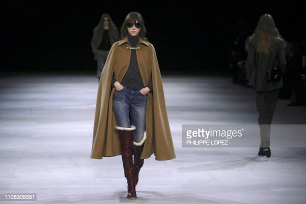 Models present creations by Celine during the Women's Fall-Winter 2019/2020 Ready-to-Wear collection fashion show in Paris, on March 1, 2019.