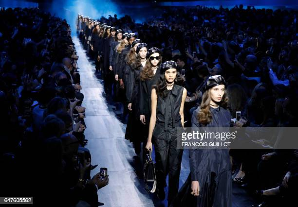 Models present creations by Christian Dior during the women s FallWinter  20172018 readytowear collection fashion show in 480b02e74c76