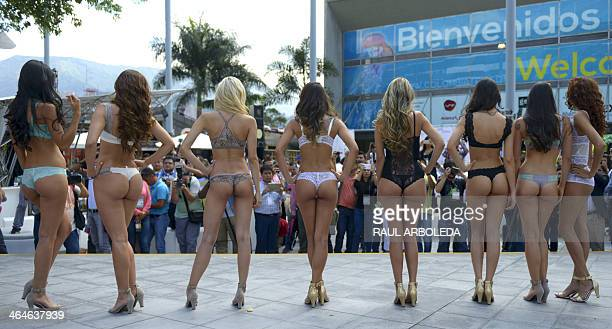 Models present creations by Colombian brand Purpurata during the Colombiatex fashion fair on January 23 2014 in Medellin Antioquia department...