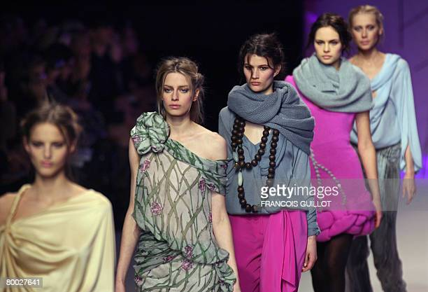 Models present creations by Colombian-US designer Esteban Cortazar for Ungaro during the autumn/winter 2008-2009 ready-to-wear collection show in...