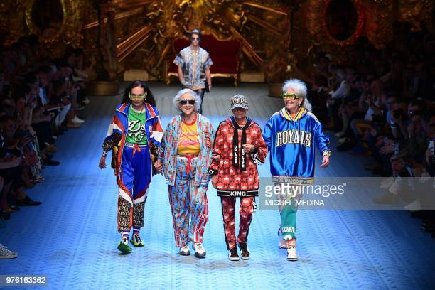 TOPSHOT Models present creations by Dolce Gabbana during the men women's spring/summer 2019 collection fashion show in Milan on June 16 2018