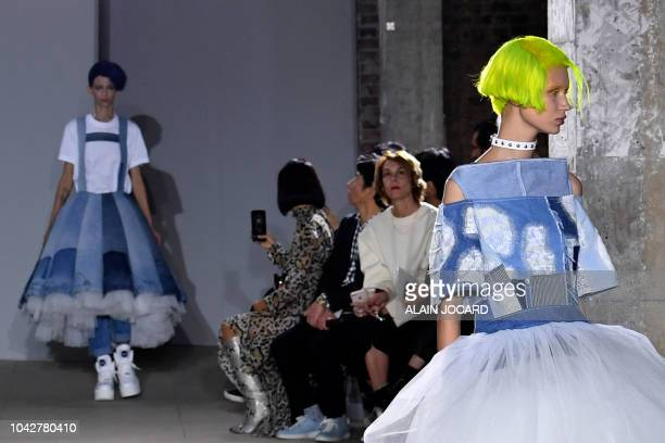 Models present creations by Junya Watanabe during the SpringSummer 2019 ReadytoWear collection fashion show in Paris on September 29 2018