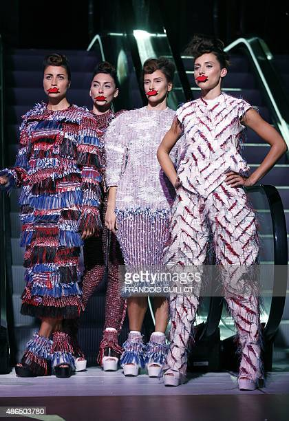 Models present creations by Kelsey Hutton during the Graduate fashion show showcased at the Who's Next and Premierre Classe Next trade show in the...