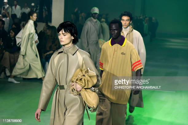 Models present creations by Lacoste at the end of the Women's FallWinter 2019/2020 ReadytoWear collection fashion show in Paris on March 5 2019