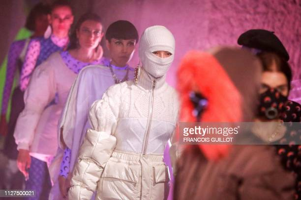 Models present creations by Marine Serre during the Fall-Winter 2019/2020 Ready-to-Wear collection fashion show in Issy-les-Moulineaux, on the...