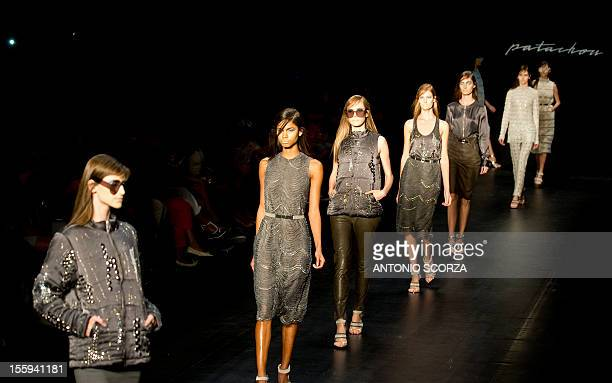 Models present creations by Patachou during the Rio Fashion Week 2013 Autumn/ Winter collection on November 9 2012 in Rio de Janeiro Brazil AFP PHOTO...