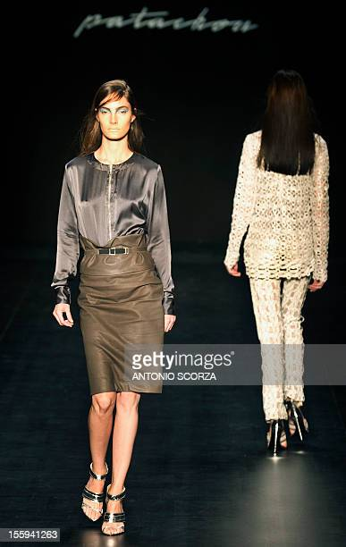 Models present creations by Patachou during the Rio Fashion Week 2013 Autumn/ Winter collection on November 9 2012 in Rio de Janeiro Brazil