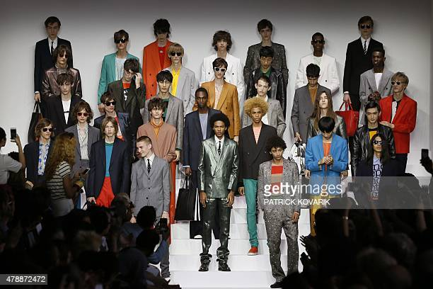 Models present creations by Paul Smith during the Men's Fashion Week for the 2016 spring/summer collections in Paris on June 28 2015 AFP PHOTO /...