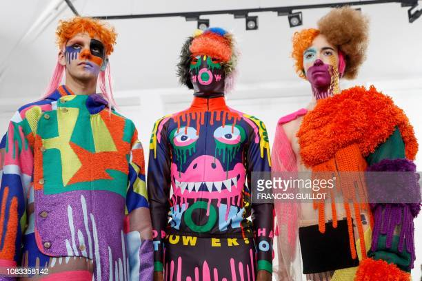 Models present creations by Walter Van Beirendonck, during the men's Fall/Winter 2019/2020 collection fashion show in Paris on January 16, 2019.