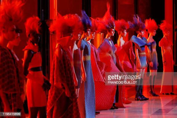 TOPSHOT Models present creations by Yuima Nakazato during the Women's SpringSummer 2020 Haute Couture collection fashion show in Paris on January 23...