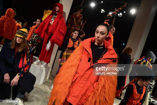 Models present creations during the Angel Chen women's Fall/Winter 2019/2020 collection fashion show on February 24 2019 in Milan