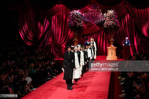 Models present creations during the Dolce Gabbana women's Fall/Winter 2019/2020 collection fashion show on February 24 2019 in Milan