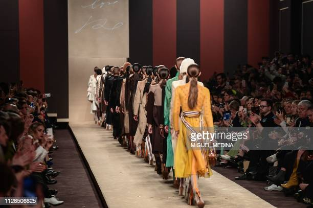 Models present creations during the Fendi women's Fall/Winter 2019/2020 collection fashion show on February 21 2019 in Milan