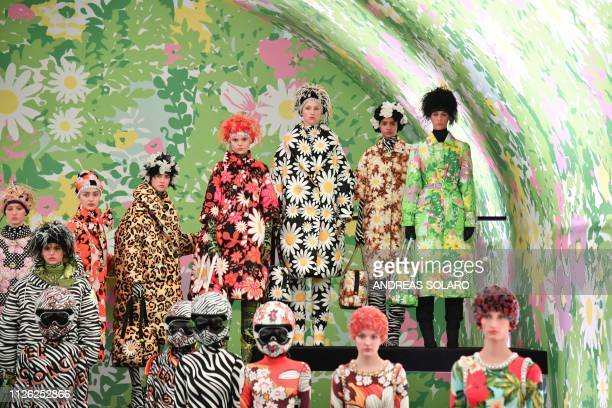 Models present creations during the Moncler women's Fall/Winter 2019/2020 collection fashion show on February 20 2019 in Milan