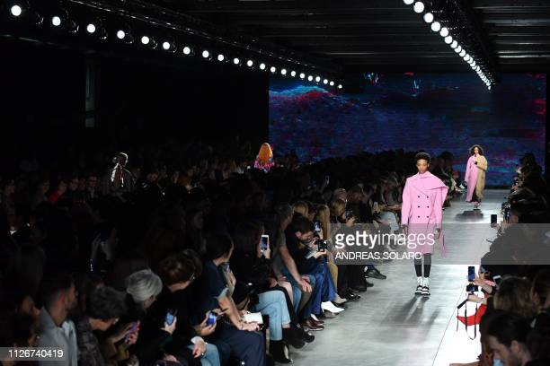Models present creations during the MSGM women's Fall/Winter 2019/2020 collection fashion show on February 22 2019 in Milan