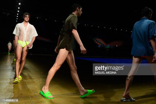 Models present creations during the presentation of Italian fashion brand MSGM's Spring-Summer 2020 collection, as part of a Pitti Special...