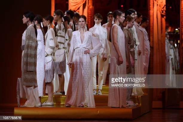 Models present creations during the presentation of the Les Copains fashion show as part of the Women's Spring/Summer 2019 fashion week in Milan on...