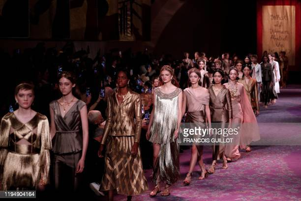 Models present creations for Dior during the Women's Spring-Summer 2020/2021 Haute Couture collection fashion show in Paris, on January 20, 2020.