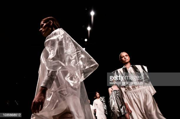 TOPSHOT Models present creations for fashion house Alberto Zambelli during the Women's Spring/Summer 2019 fashion shows in Milan on September 19 2018
