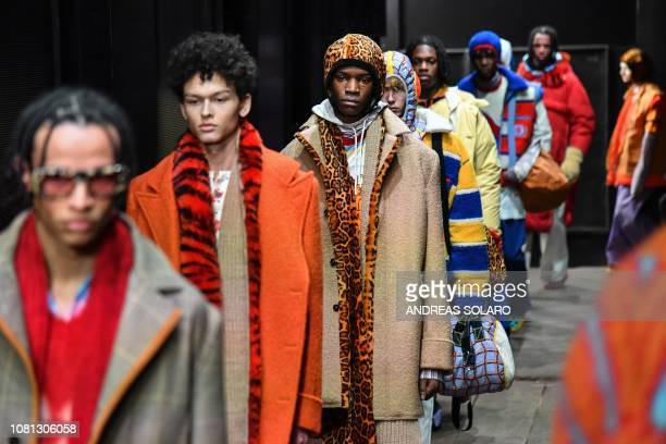 Models present creations for fashion house Marni during the Men's Fall/Winter 2019/20 fashion shows in Milan on January 12 2019