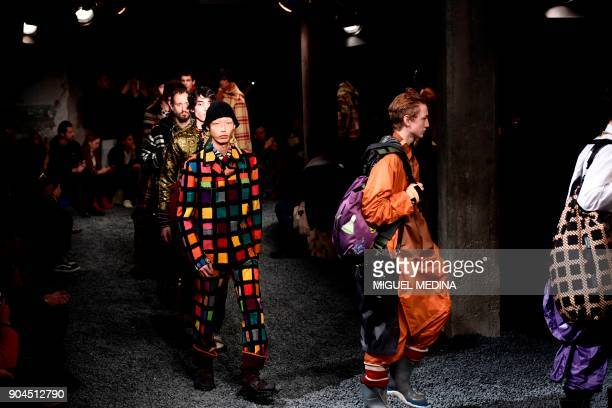 Models present creations for fashion house Marni during the Men's Fall/Winter 2019 fashion shows in Milan on January 13 2018 / AFP PHOTO / Miguel...