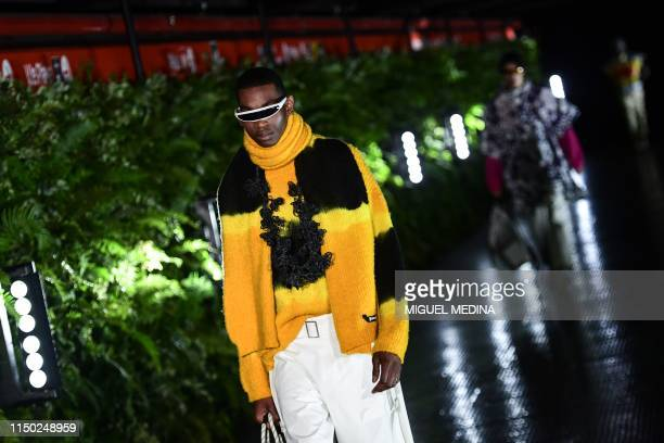 Models present creations for fashion house Palm Angels during the presentation of its woman's and men's spring/summer 2020 fashion collection in...