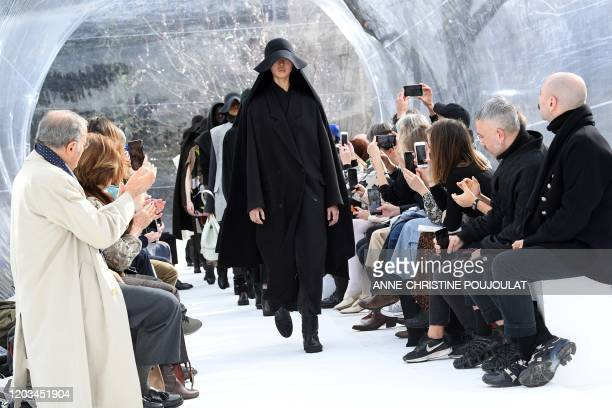 Models present creations for Kenzo during the Women's Fall-Winter 2020-2021 Ready-to-Wear collection fashion show in Paris, on February 26, 2020.