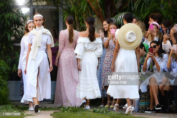 Models present creations for Luisa Beccaria's Women's Spring Summer 2020 collection in Milan on September 19, 2019.