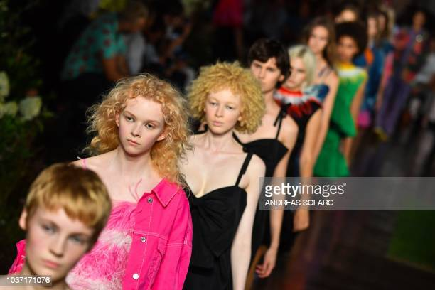 Models present creations for MSGM fashion house during the Women's Spring/Summer 2019 fashion shows in Milan on September 21 2018