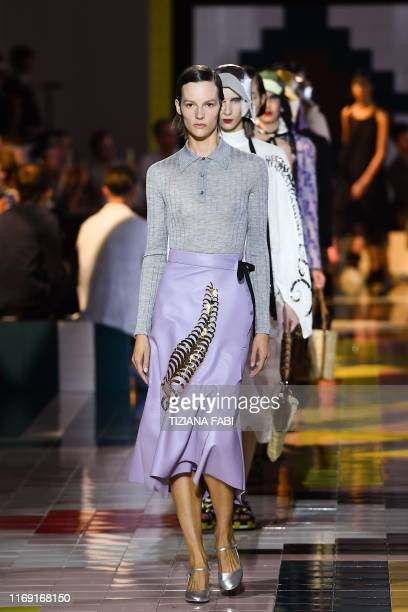 Models present creations for Prada's Women's Spring Summer 2020 collection in Milan on September 18, 2019.