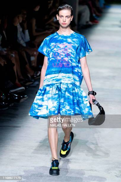 Models present creations from fashion designer Christopher Kane during a catwalk show for the Spring/Summer 2020 collection on the fourth day of...