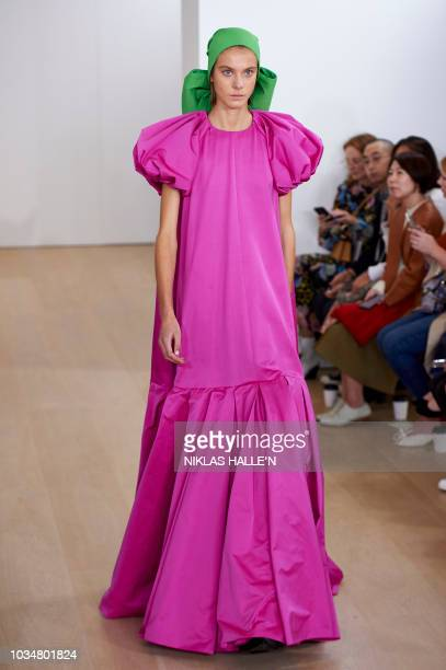 Models present creations from New Zealandborn designer Emilia Wickstead during a catwalk show for the Spring/Summer 2019 collection on the fourth day...