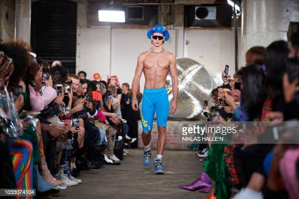 Models present creations from Nicopanda during a catwalk show for the Spring/Summer 2019 collection on the first day of London Fashion Week in London...