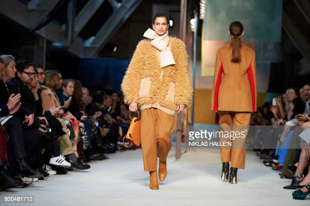 Models present creations from the Roksanda collection during their catwalk show on the fourth day of London Fashion Week Autumn/Winter 2018 in London...