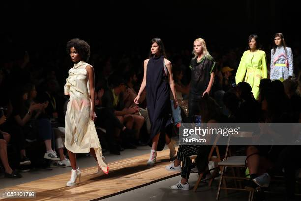 Models present creations from the Serbian fashion designer Aleksandar Protic Spring/Summer 2019 collection during the 3rd day of the Lisboa Fashion...
