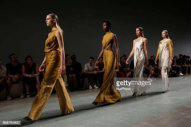 Models present creations from the Serbian fashion designer Aleksandar Protic Spring/Summer 2018 collection during the Lisbon Fashion Week Moda Lisboa...