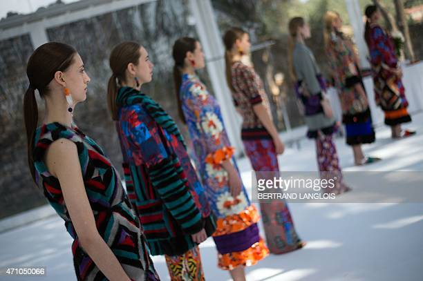 Models present creations of Finnish designer Sophie Salekari to the jury during the 30th edition of the International Festival of Fashion and...