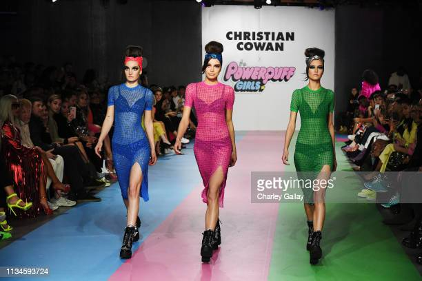 Models present designs at Christian Cowan x The Powerpuff Girls Runway Show at City Market Social House on March 08, 2019 in Los Angeles, California.