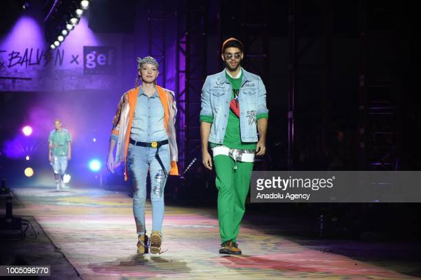 Models present during the runway of the brand GEF of Colombian reggeaton singer and fashion designer J Balvin at Colombiamoda as part of Colombia's...