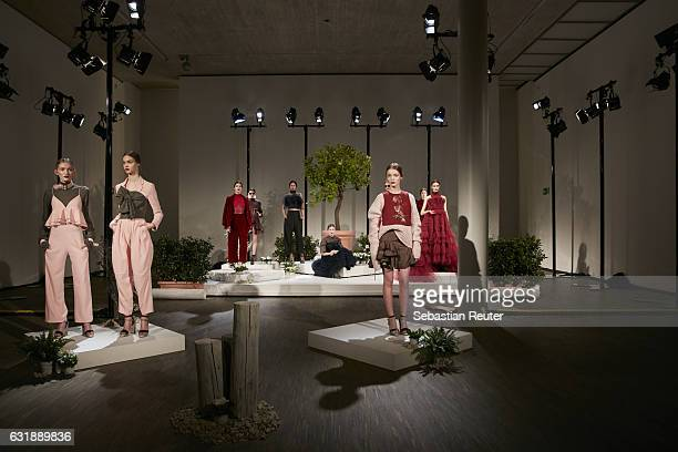 Models present fashion at the Danny Reinke show during the Mercedes-Benz Fashion Week Berlin A/W 2017 at Stage at me Collectors Room on January 17,...