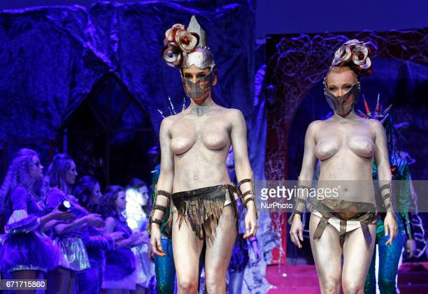 Models present hair style creations during the annual international hairdressers festival of Hairdressing Fashion and Design quotCrystal Angelquot in...